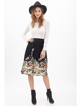 floral-chiffon-skirt by forever-21
