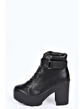 natalie-lace-up-cleated-hiker-boots by boohoo