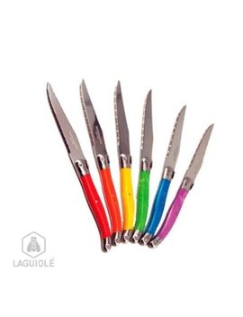 laguiole-atmosphere-6-steak-knives,-ambience-vibrant-colors,-for-everyday-use-create-atmosphere-at-your-table-lg-23cm-stainless-steel-blade,-micro-toothed-full-tang-tempered-stainless-steel-blade-(blade-running-through-to-the-end-of-the-handle)-2 by laguiole