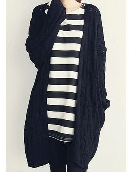 black-cable-knit-cardigan by lookbook-store
