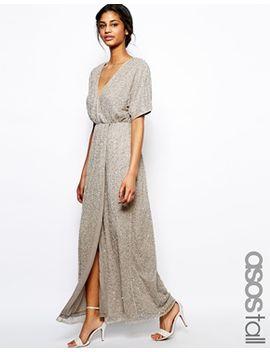 asos-tall-sequin-kimono-maxi-dress by asos-tall