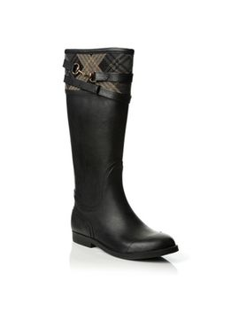 henry-ferrera-womens-black-plaid-trim-equestrian-rain-boots by henry-ferrera