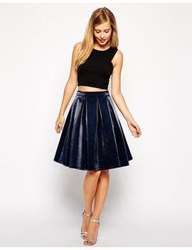 asos-premium-bonded-midi-skirt-in-metallic by asos-collection