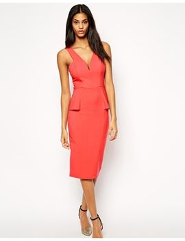 asos-deep-plunge-pencil-dress-with-peplum by asos-collection