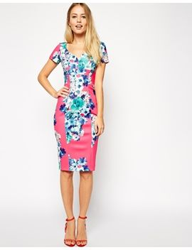 asos-sexy-pencil-dress-in-bright-floral-print by asos-collection