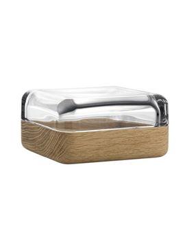 iittala-vitriini-square-box,-clear-with-oak,-4-1_4-inch by iittala