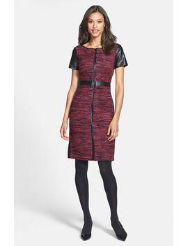 faux-leather-trim-multicolor-bouclé-dress by laundry-by-shelli-segal