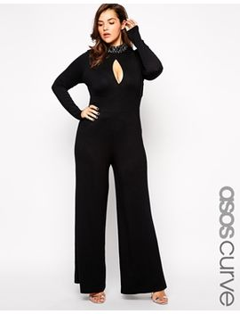 asos-curve-exclusive-jumpsuit-with-gem-embellished-high-neck by asos-curve