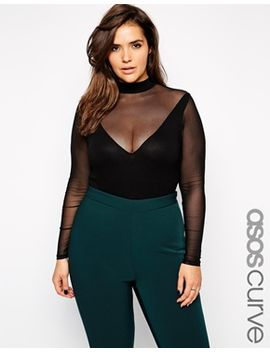 asos-curve-body-with-mesh-insert-and-long-sleeves by asos-curve
