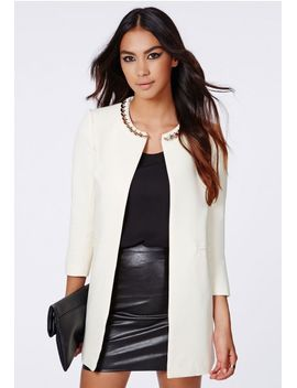 jasmin-chain-neck-collarless-jacket-ivory by missguided