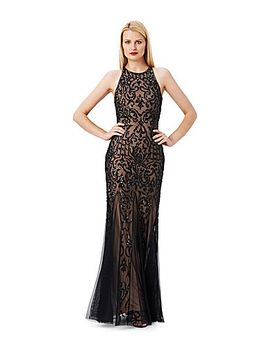 adrianna-papell-beaded-open-back-halter-gown by generic