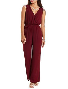 beaded-cap-sleeve-chiffon-jumpsuit by charlotte-russe