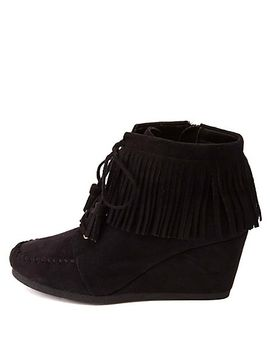 city-classified-fringe-moccasin-wedge-booties by charlotte-russe