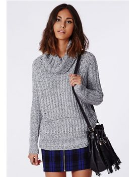 carina-chunky-knit-roll-neck-sweater-grey by missguided