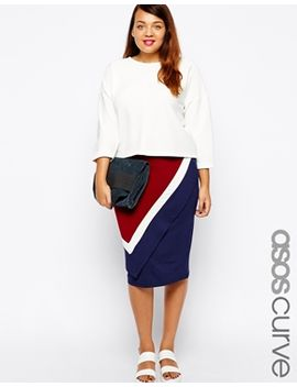 asos-curve-exclusive-wrap-pencil-skirt-with-color-block by asos-curve
