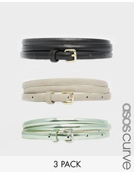 asos-curve-metallic-hip-and-waist-belt-in-3-pack by asos-curve