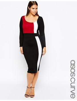 asos-curve-exclusive-body-conscious-dress-with-panels-with-long-sleeve by asos-curve