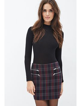 zippered-plaid-skirt by forever-21
