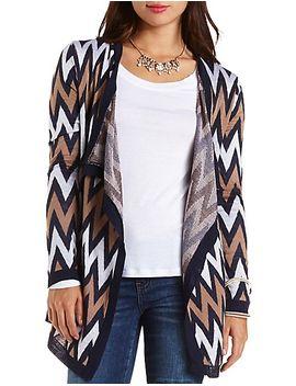 chevron-cascade-cardigan-sweater by charlotte-russe