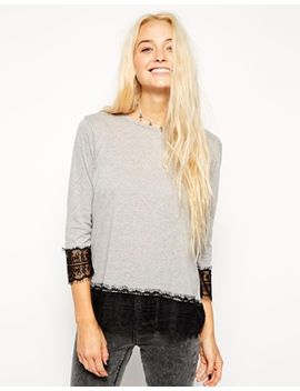 asos-top-with-eyelash-lace-trim by asos-collection
