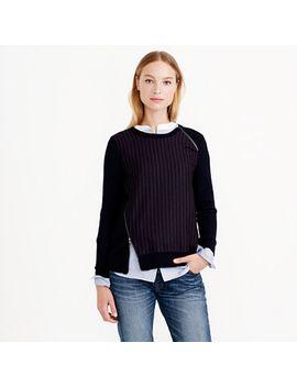 pinstripe-zip-sweater by jcrew