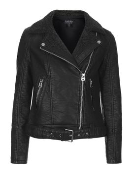 faux-leather-borg-biker-jacket by topshop