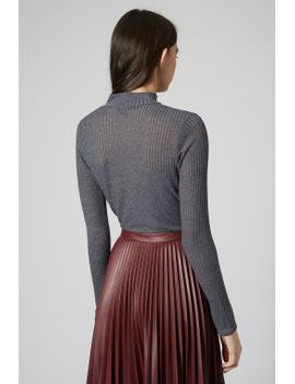 long-sleeve-rib-funnel-neck-top by topshop