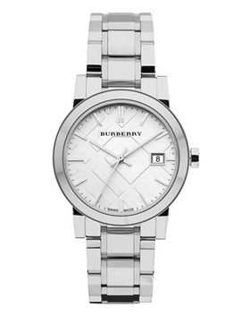 medium-check-stamped-bracelet-watch,-34mm by burberry