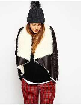 asos-jacket-with-waterfall-front-in-faux-shearling by asos-collection