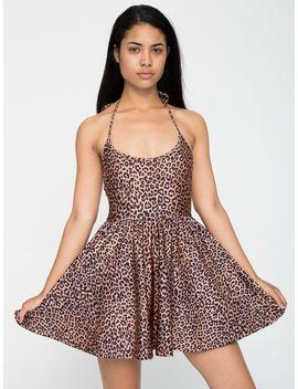 shiny-peach-cheetah-nylon-tricot-figure-skater-dress by american-apparel