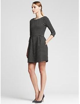 striped-ponte-fit-and-flare-dress by banana-repbulic