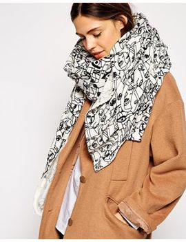asos-faces-print-oversized-scarf by asos-collection