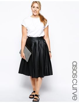 asos-curve-midi-skirt-in-pleated-leather-look by asos-curve