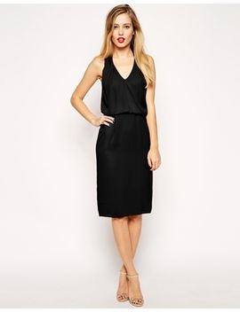 asos-pencil-dress-with-halterneck-and-low-v by asos-collection
