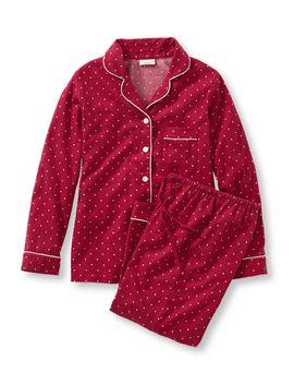 pima-cotton-flannel-pj-set,-dot by llbean