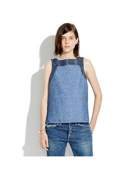 indigo-linen-embroidery-tank by madewell