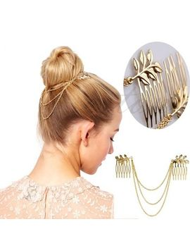 free-shipping-womens-personality-golden-tone-leaf-hair-cuff-chain-comb-headband-hair-band-hot by ali-express