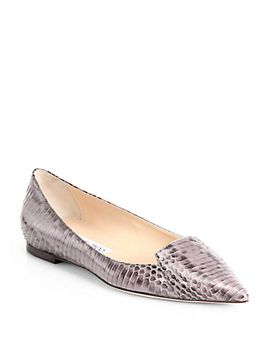attila-snake-embossed-leather-flats by jimmy-choo