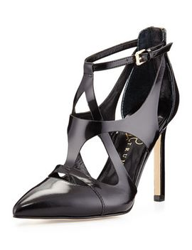 chatyy-shiny-leather-ankle-wrap-pump,-black by ivanka-trump