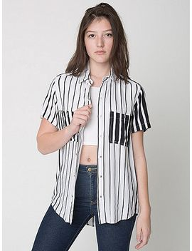 unisex-printed-rayon-short-sleeve-button-up-shirt by american-apparel
