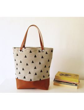 canvas-tote-bag,-large-tote-bag,-book-bag,-shopping-bag,-casual-tote,-school-bag,-triangle-print,-geometry-print by bymart