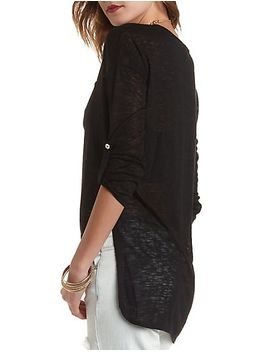 high-low-knit-pocket-top by charlotte-russe