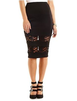 lace-trim-bodycon-midi-skirt by charlotte-russe