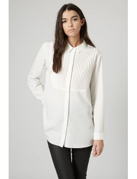 pleated-bib-front-shirt by topshop