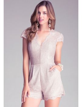 coated-lace-romper by bebe