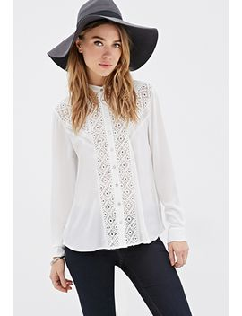 crochet-paneled-button-down-blouse by forever-21