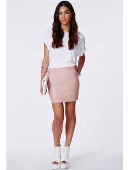 rica-dusky-pink-faux-leather-bodycon-mini-skirt by missguided