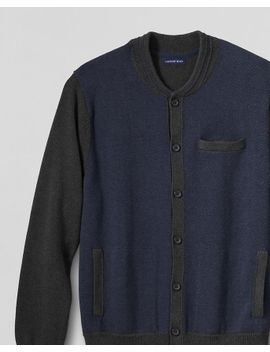 mens-cotton-varsity-cardigan by lands-end