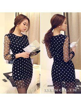 autumn-women-ladies-clothing-long-sleeve-crew-neck-sheer-polka-dot-casual-mesh-pencil-sheath-mini-dress-black-free-shipping-1332 by ali-express