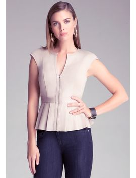 leather-pleated-peplum-top by bebe